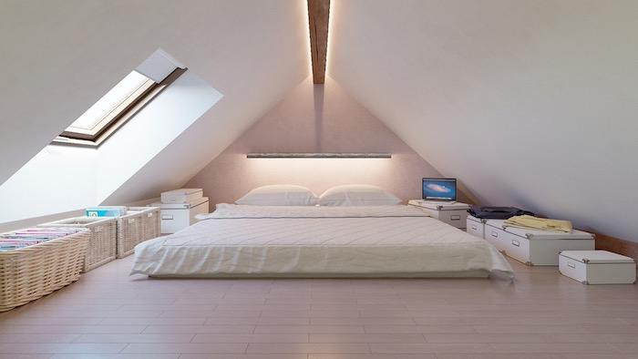 dachschräge gestalten weißes dachzimmer doppelbett großes fenster wandfenster wanddeko koffer säcke