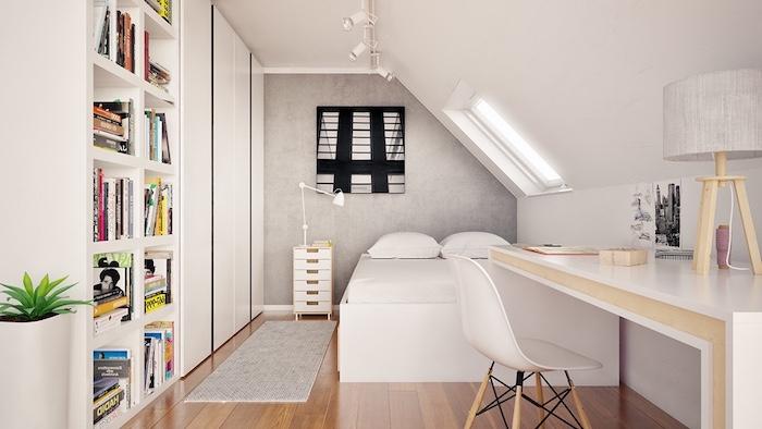 dachschräge gestalten einrichtungsideen bücherregale doppelbett schreibtisch teppich schubladen