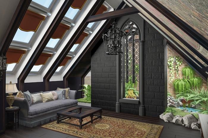 zimmer mit dachschräge viele fenster an der wand schwarze wand luxuriöse einrichtung dekorative lampe persischer teppich