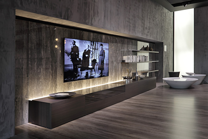 wohnwand wanddeko fernseher graues design kreative wohnideen einrichtung designer