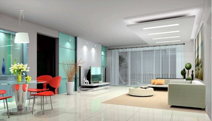 tv paneel buntes wohnzimmerdesign idee glastür dekorationen frische blumen tulpen fernseher gegen dem sofa
