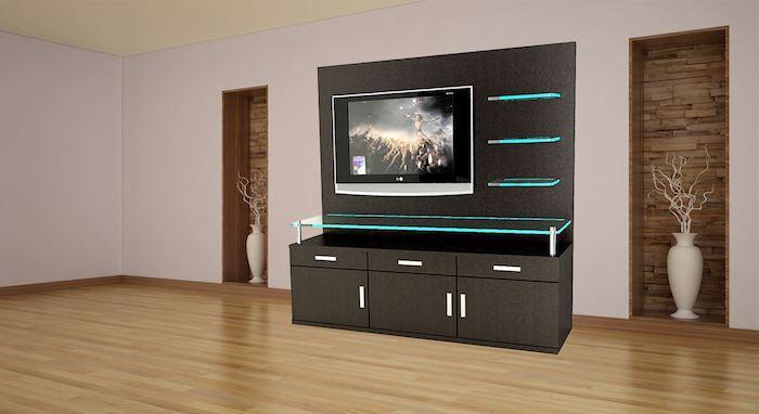 wohnwand modern fernsehschrank dunkelgrau mit dezenter led beleuchtung led licht türkis farbe