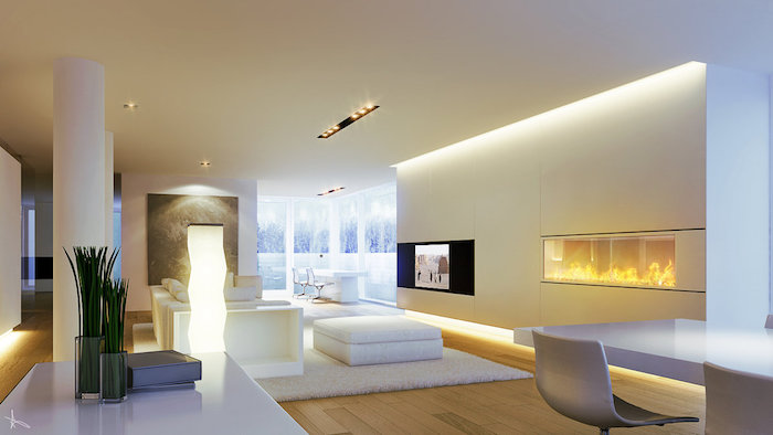 tv paneel weiß und gelb wandgestaltung ideen weißer teppich hocker tisch lampe sessel deko idee
