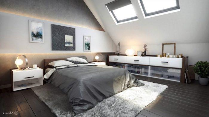 kleines appartment einrichten grau weiße einrichtungsideen grauer teppich schubladen wandbilder deko an der wand