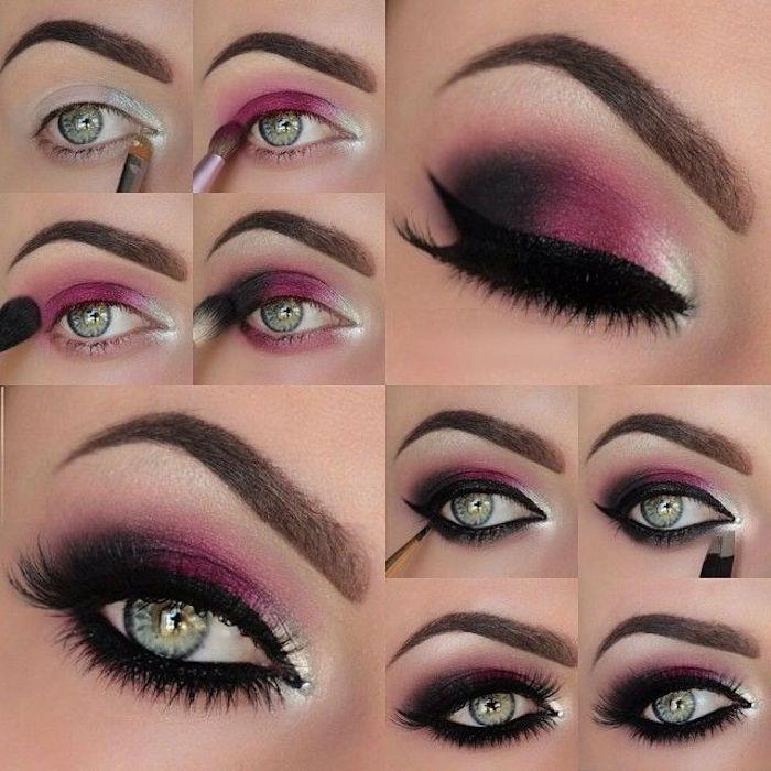 schminktipps augen, abend make-up in dunkelosa selber machen