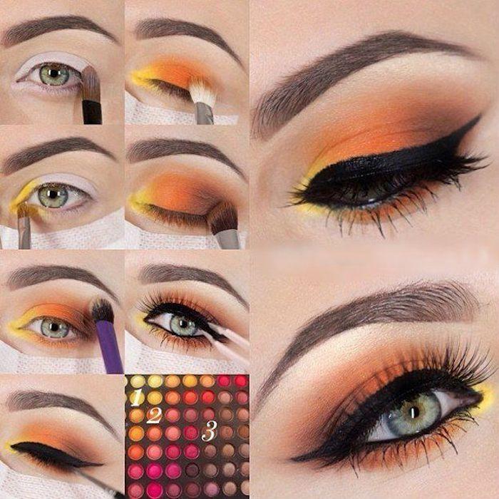 schminktipps augen, make-up in orange, gelb und braun, bunte lidschatten