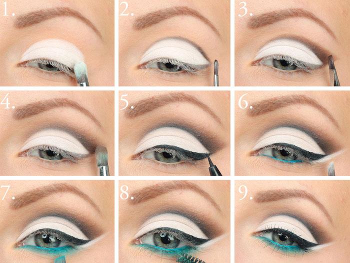 schminktipps augen, make-up in weiß, grau und blau, lidstrich auftragen