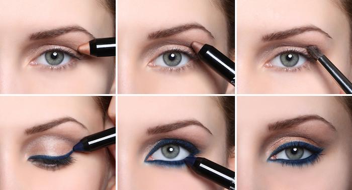 augen make up anleitung, make-up in braun und blau, blauer augenstift