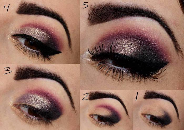 schminktipps augen, festliches make-up in dunkelrot, schwarz und gold