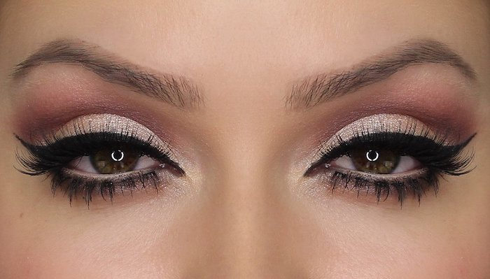 schminktipps augen, make-up in rose-gold, festliches make-up