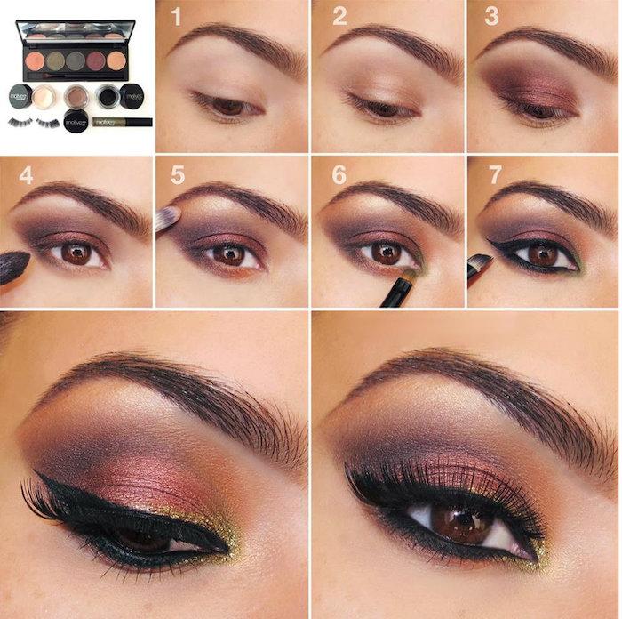 augen make up anleitung, abend make-up in rose-gold, schwarzer lidstrich