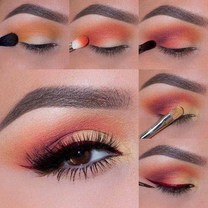 schön geschminkt, make-up in orange und gelb selber machen