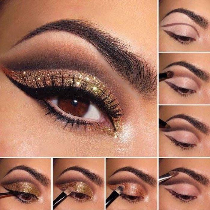 schön geschminkt, festliches make-up mit goldenem glitzer selber machen