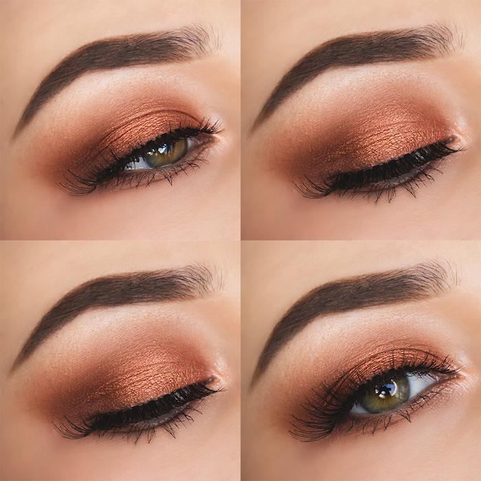 schön geschminkt, augenbrauen betonen, make-up in orange-braun