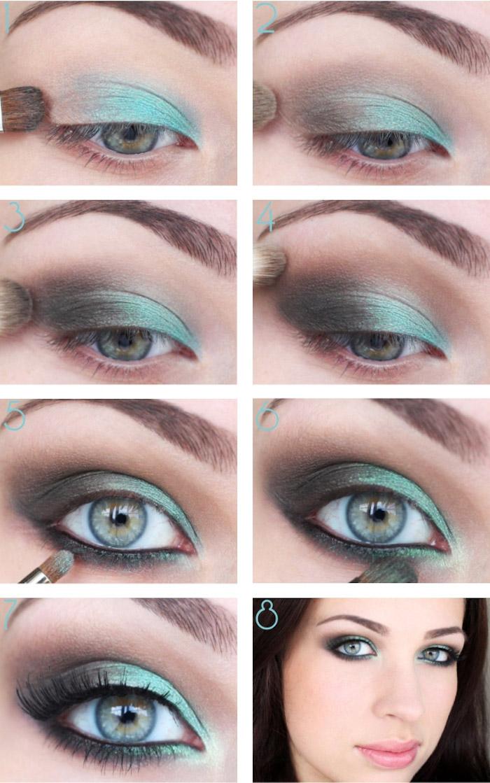 schön geschminkt, lidschatten in blau und grau, abend make-up