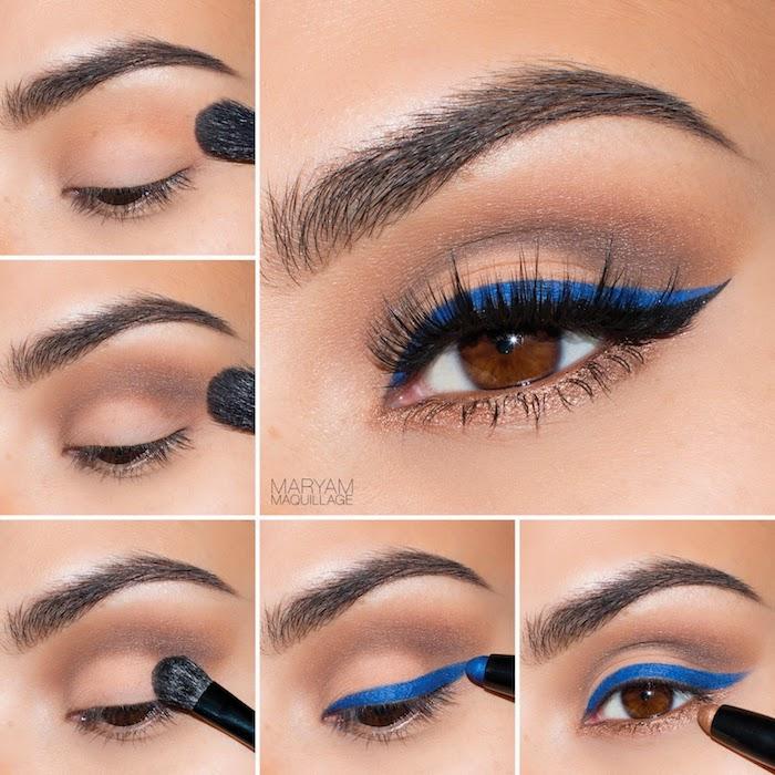 schön geschminkt, make-up für braune augen, blauer augenstift