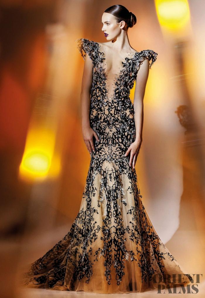 Meerjungfrau-Kleid mit V-Ausschnitt, bodenlanges Kleid mit Perlen verziert, elegantes Outfit für besondere Anlässe