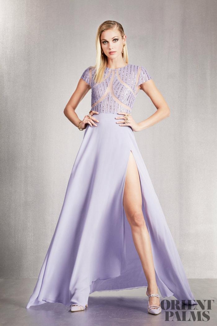 Bodenlanges Abendkleid mit Schlitz in Lila, Glitzer-Oberteil mit kurzen Ärmeln, elegantes Outfit