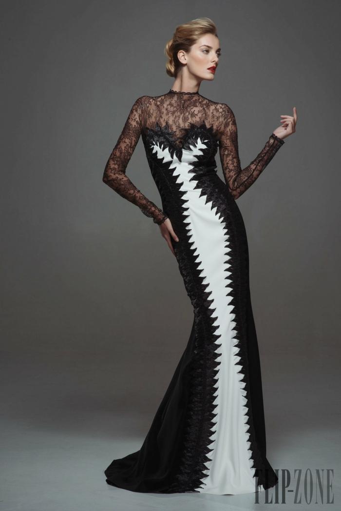 Bodenlanges Abendkleid mit Spitzenelementen, elegantes Outfit in Schwarz und Weiß, Idee für Silvester Kleidung
