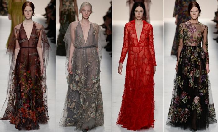 lange Abendkleider aus der Modekollektion des Designers Valentino - lange Tüllkleider mit Appliziringen in Schwarz, Grau und Rot, lange Kleider mit tiefem Ausschnitt