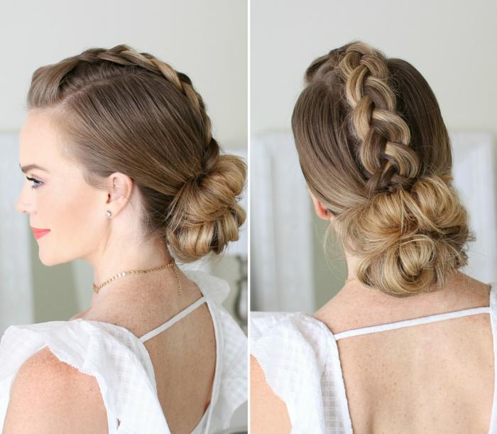 Dutt Frisur mit Zopf für mittellanges Haar zum Nachmachen, rückenfreies weißes Kleid, leichtes Tages Make-up