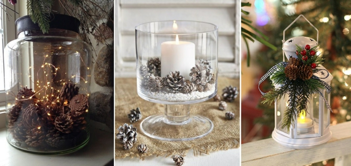 Fotocollage aus drei Bildern, die drei verschiedene Weihnachts-Dekoelemente darstellen - großes Einmachglas mit schwarzem Deckel, gefüllt mit vielen kleinen Zapfen und einer Lichterkette mit kleinen Lampen, brennende Kerze in einer Punschglas, gefüllt mit Kunstschnee und kleinen Zapfen, besprücht mit weißem Spray, braune Tischdecke auf Hanffäden, Treppenhaus mit weißgestrichenen Holztreppen, Glas-Laterne mit Henkel aus Edelstahl, verziert mit einen kleinen Tannenzweig, zwei Zapfen und einen Mistelzweig mit roten Mistelbeeren