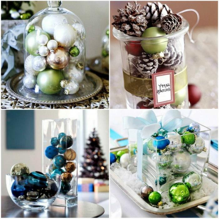 Deko-Glasglocke mit silbernem Teller, gefüllt mit Tannenbaumkugeln in drei Farben, Einmachglas mit vielen Zapfen, besprüht mit weißem Spray, große Glaskugel und grüße Glasvase, gefüllt mit vielen blauen Kugeln mit Glanz- und Mattüberzug, große Geschenke in schönem Papier unter dem riesigen Weihnachtsbaum, Tablett aus Silber mit einer Glasvase darauf, gefüllt mit weihnachtlichen Dekoelementen