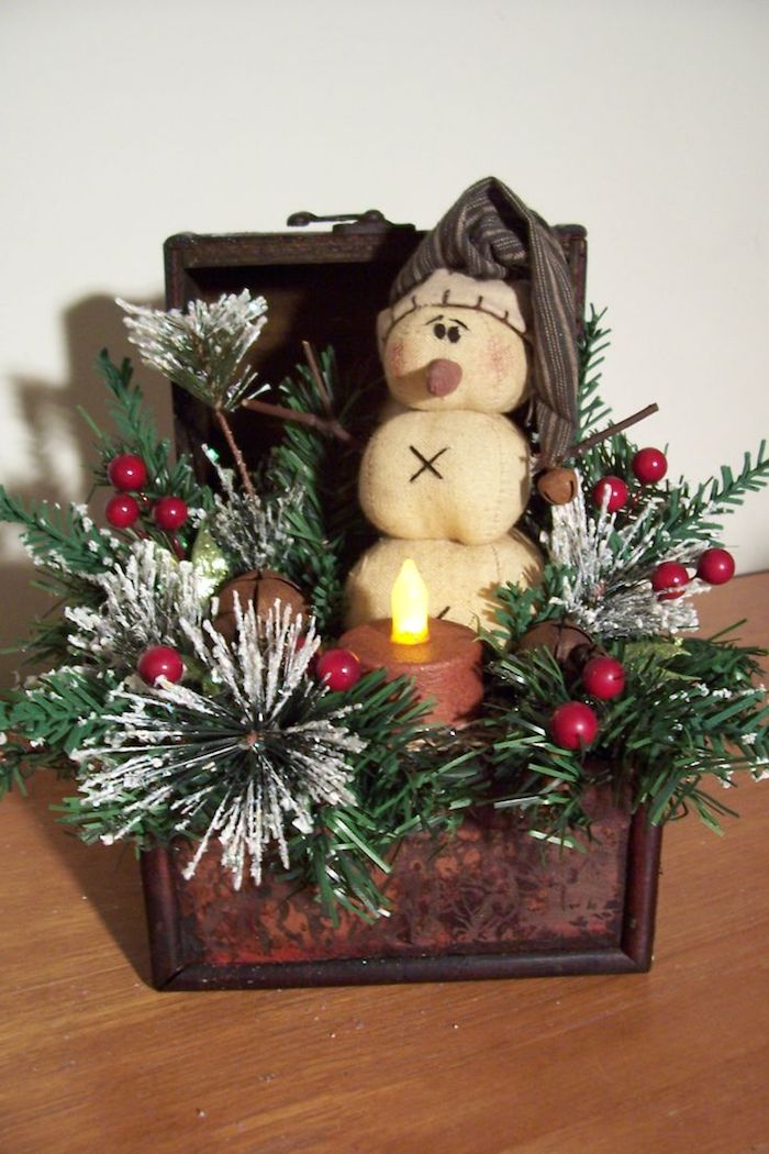 Weihnachtsgestecke - ein kleiner Kisten, ein Schneemann darin, eine Kerze mit elektrischer Flamme in der Mitte