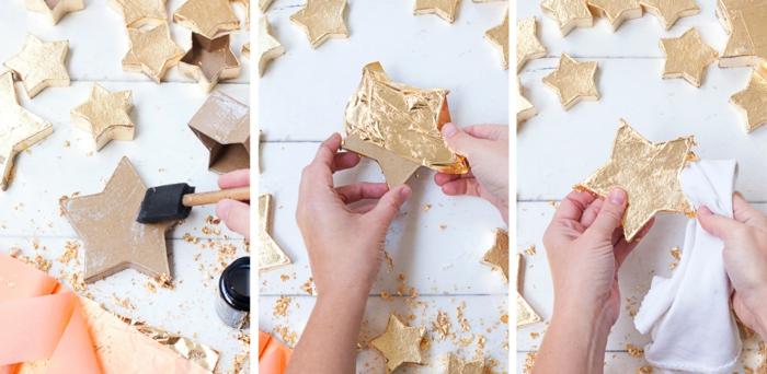 Goldene Sternenschachteln selber machen, Schritt für Schritt Anleitung für selbstgemachten Adventskalender