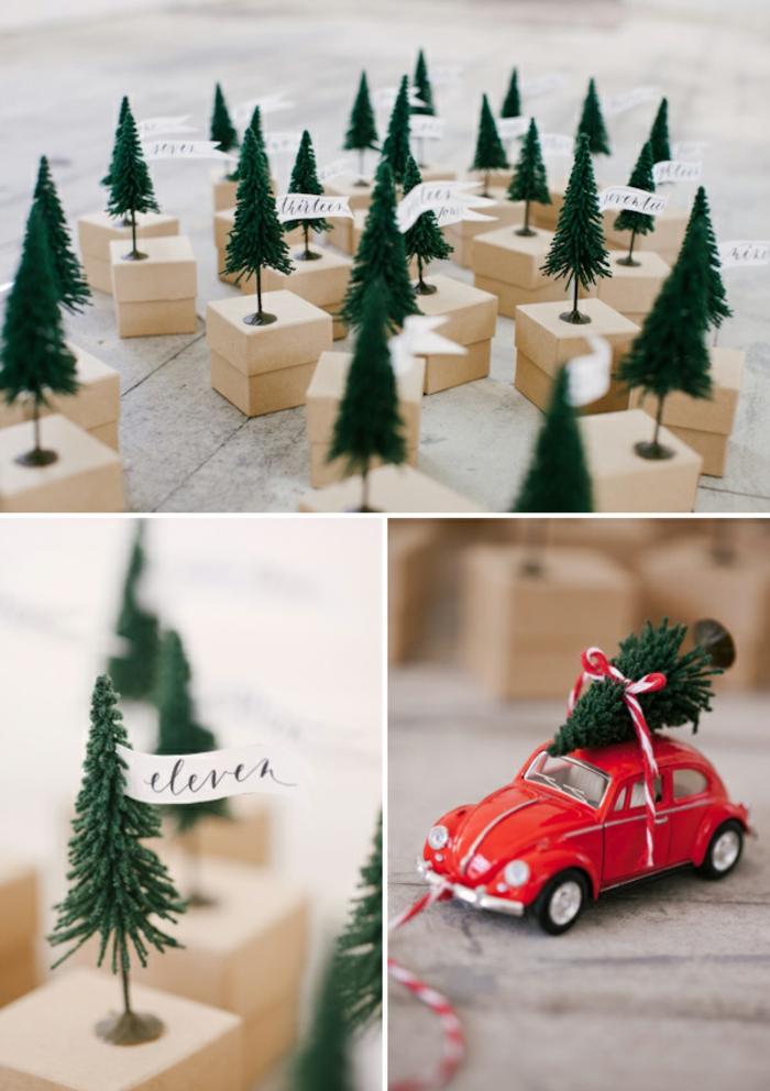 Kleine Figuren aus Kunststoff auf Schachteln aufkleben, Adventskalender selber machen, DIY Idee für Kinder und Erwachsene