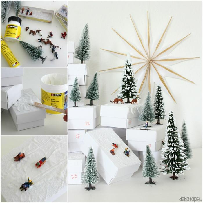 Schöne Idee für Adventskalender zum Selbermachen, kleine Figuren aus Kunststoff auf Schachteln aufkleben