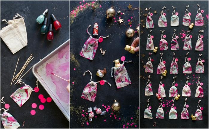 Adventskalender basteln, kleine Säckchen mit Nagellack gestalten und mit kleinen Geschenken befüllen