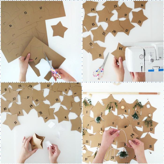 Sterne aus Karton ausschneiden, mit kleinen Geschenken befüllen, DIY Idee für Adventskalender