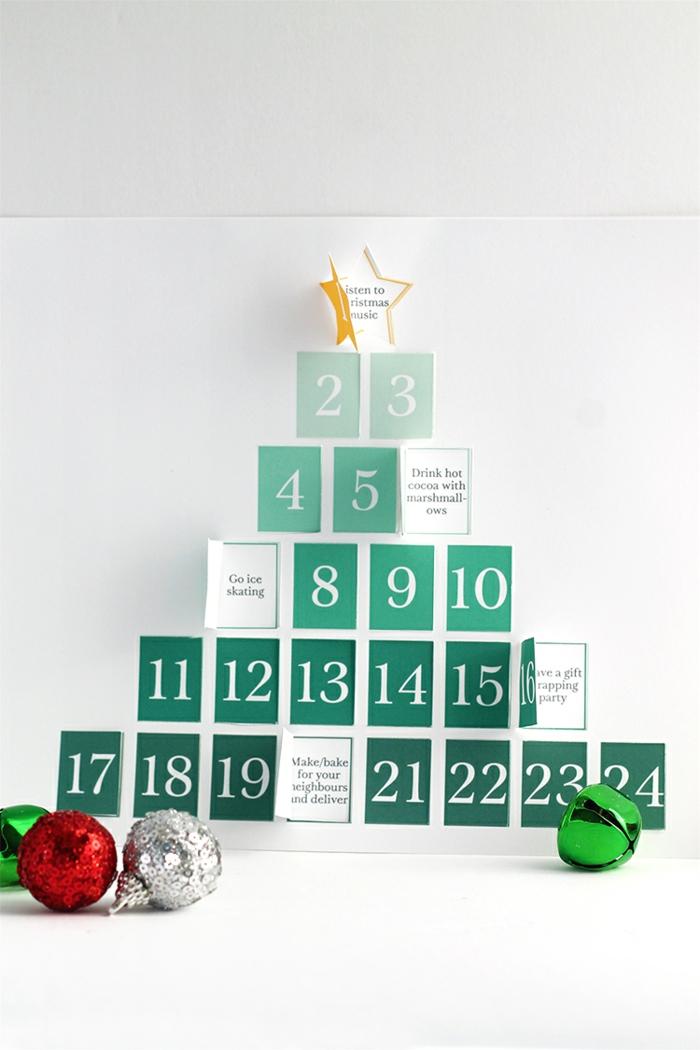 Adventskalender aus Papier selber machen, Herausforderungen für jeden Tag, bunte Christbaumkugeln