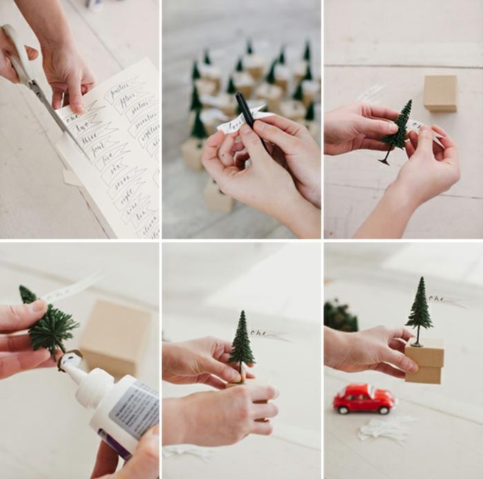 Adventskalender selber machen, Schritt für Schritt Anleitung, kleine Notizen ausschneiden, Weihnachtsbäume aus Kunststoff auf Schachteln aufkleben