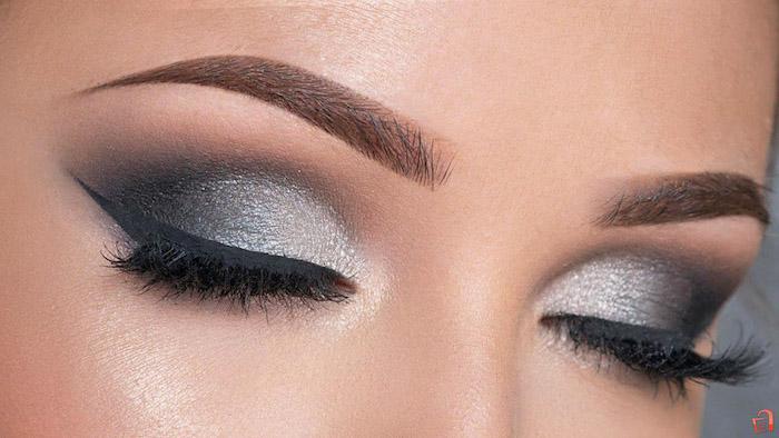 augen größer schminken, abend make-up in grau und schwarz