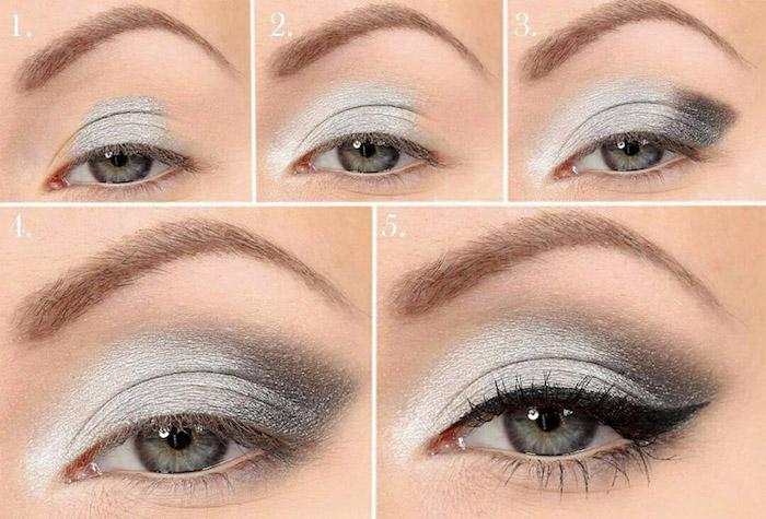 augen größer schminken, make-up für graue augen, graue lidschatten