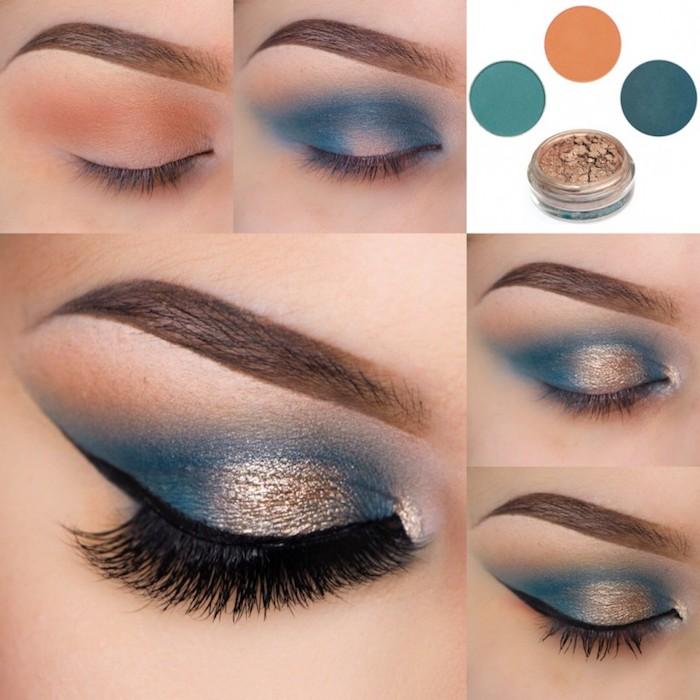 schön geschminkt, make-up für braune augen, blaue lidschatten