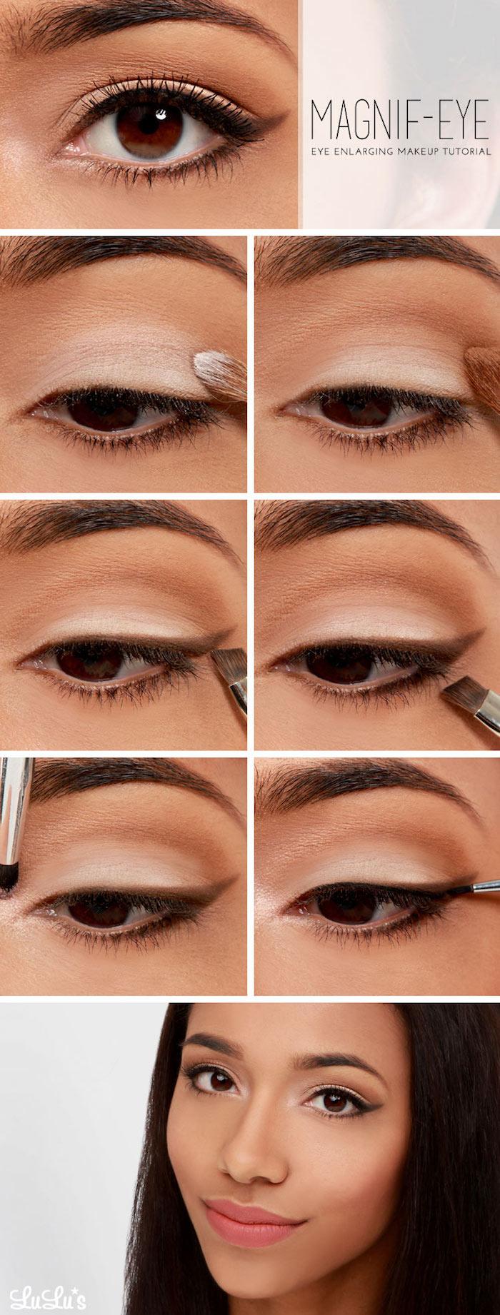 geschminkte augen, brauner lidstrich richtig auftragen, natürliches make-up