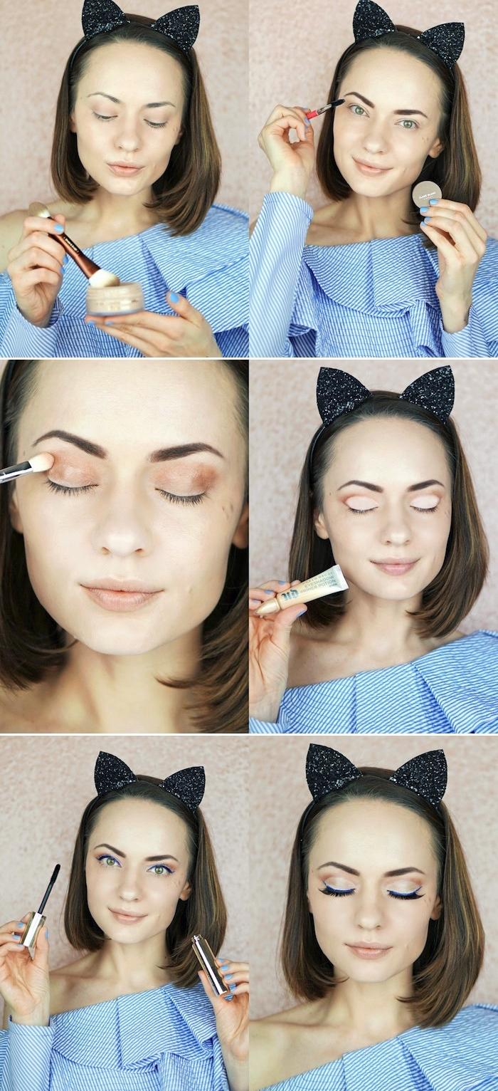 augen schminken, cat eyes schminken, make-up für grüne augen