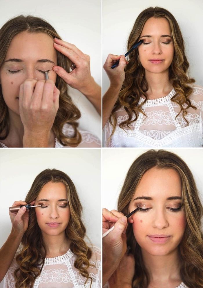 augen schminken, festliches make-up in braun und gold selber machen