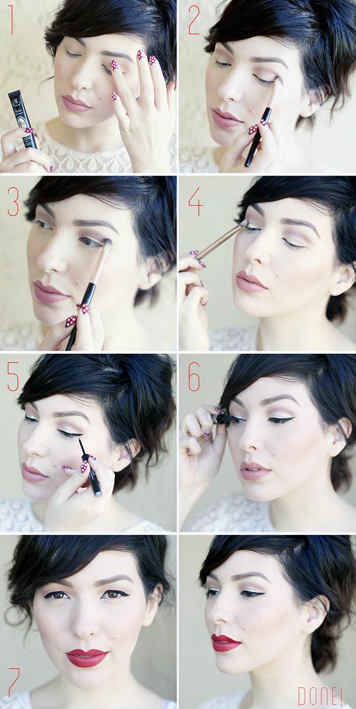 augen schminken, silvester make-up selber machen, roter lippenstift