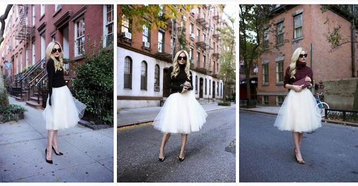 tutu rock damen ein outfit drei fotos schwarze bluse weiße tutu blonde model frau schwarze schuhe brille