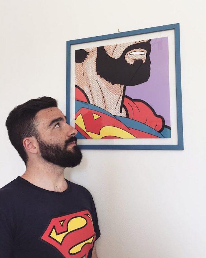 bart färben hausmittel schwarzer bart supermann bart gestaltung wandbild deko ideen
