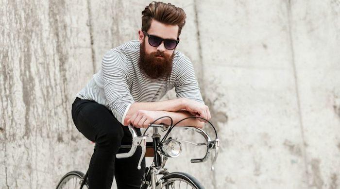 bart färben hausmittel hipster stil mann mit fahrrad und langem bart brauner bart brille