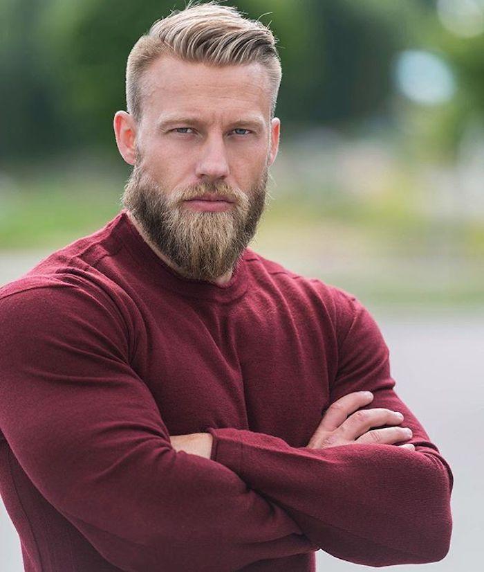 bart grau färben blond dunkelblond schttierungen mann mit roter bluse schöne idee