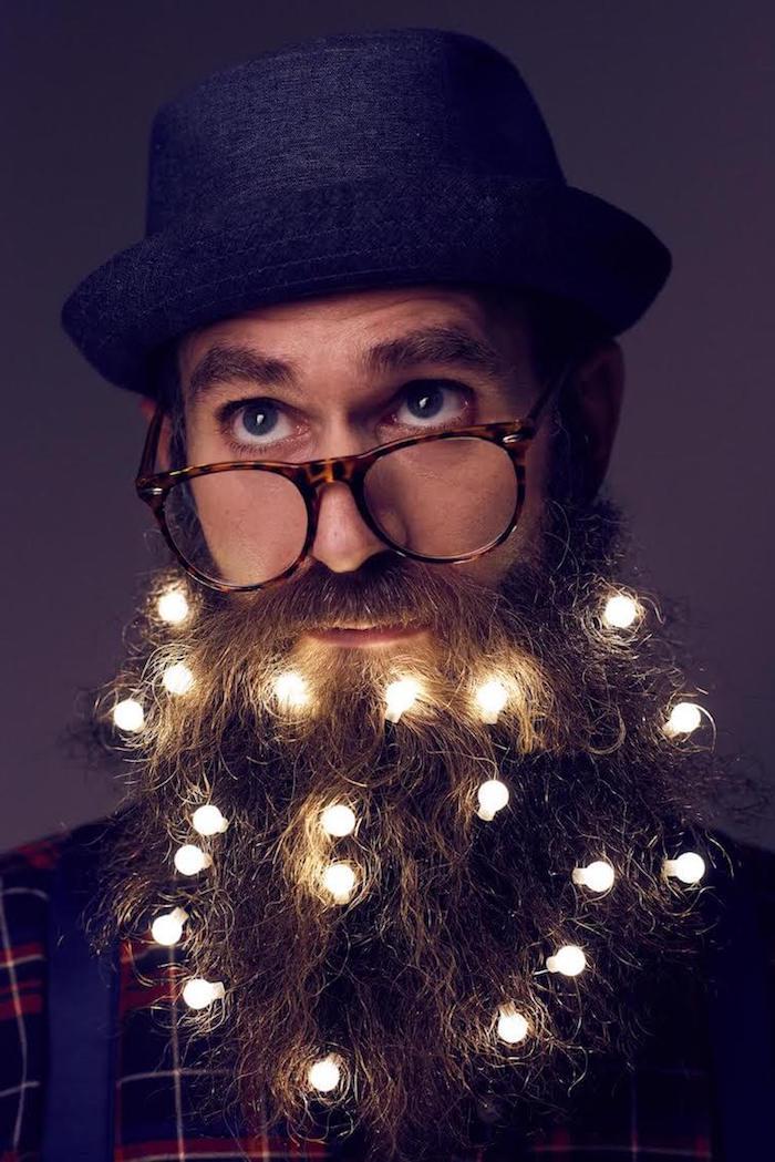 haare färben männer lichtketten in den bart einfügen lichter bart lesebrille hut mann kreatives foto