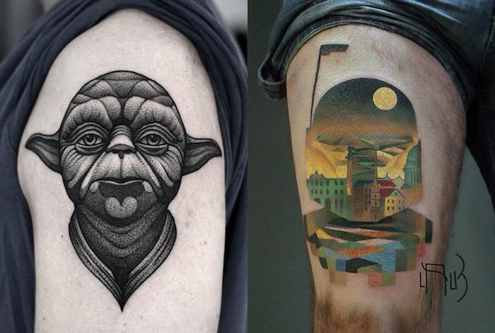 eine hand mit einem star wars tattoo mit einem schwarzen joda . mit langen ohren und ein bein mit einem tattoo mit einem klone und mit einem gelben mond