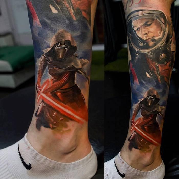 zwei beine mit farbigen großen star wars tattoos mit einem roten lichtschwert - beine mit weißen socken