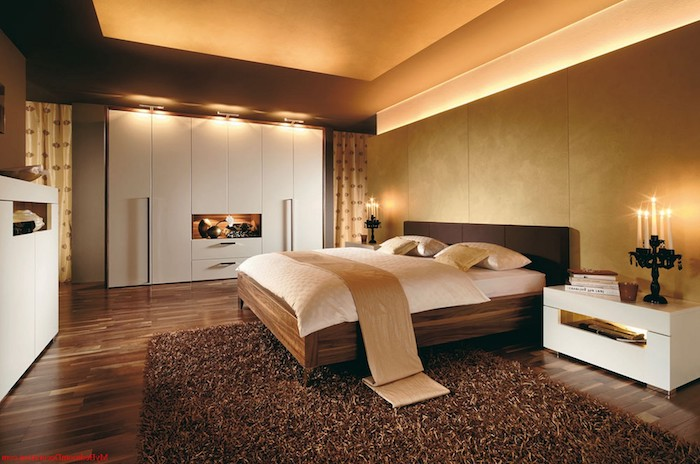 harmoniebringenden led lampen in dem schlafzimmer einrichtung in braun beige und weiß